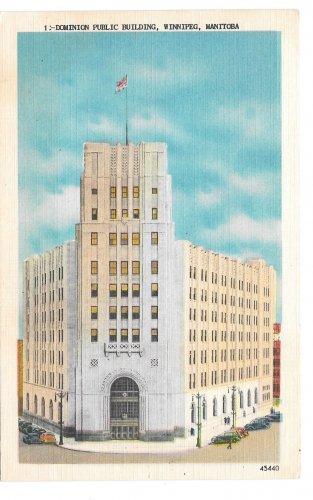 Canada Winnipeg Manitoba Dominion Public Building Vintage Linen Postcard Valentine Edy