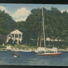Lake Chautauqua NY Sailboat Women's Club Unused 1947 Curteich Linen Postcard