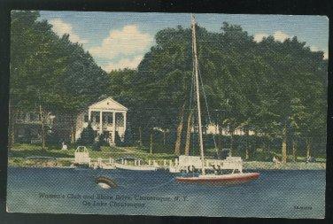 Lake Chautauqua NY Sailboat Women's Club Unused 1947 Curteich Linen Postcard
