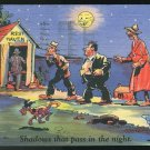Comic Outhouse Shadows That Pass In The Night used Vintage 1945 Curteich Linen Postcard