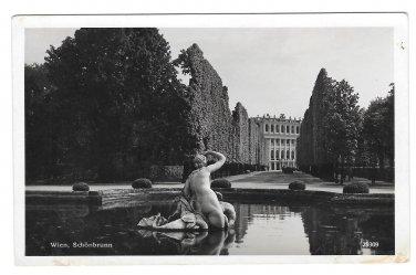 RPPC Vienna Austria Wien Schonbrunn Palace Fountain Vtg AG Real Photo Postcard