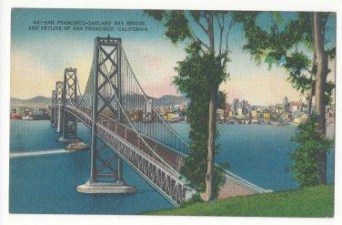 San Francisco CA Oakland Bay Bridge Skyline Vintage Linen Metrocraft Postcard
