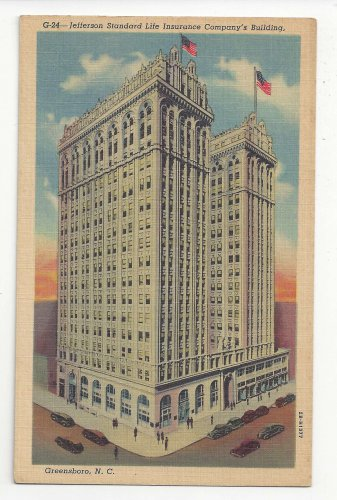 NC Greensboro Jefferson Standard Life Insurance Company Building Postcard