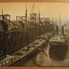 Vintage Riess Coal Dock Ashland Wisconsin Postcard