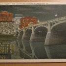 Vintage Market Street Bridge And Skyline At Night Wilkes Barre PA Postcard