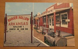 Vintage Booger Hollow Arkansas Population 7 Postcard