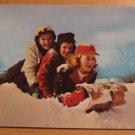 Vintage Three Girls And A Toboggan Postcard