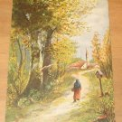 Vintage Girl Walking On Country Lane Painting By Artist Monopol Postcard