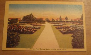 Vintage View Of Circle Park Deerings Oaks Portland Maine Postcard