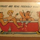 Vintage Folks Are Real Friendly Here Postcard