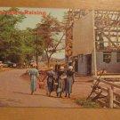 Vintage Amish Barn Raising Postcard