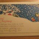 Vintage Merry Christmas Snowing Postcard