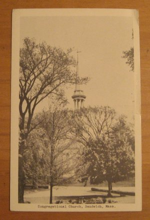 Vintage Congregational Church Sandwich Massachusetts Postcard