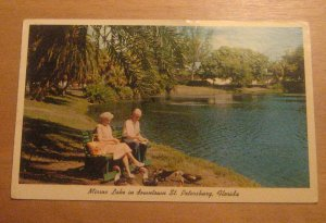 Vintage Mirror Lake Downtown St Petersburg Florida Postcard