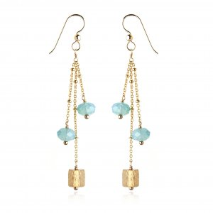 SWAROVSKI GOLD FILLED PACIFIC OPAL CUBE EARRINGS