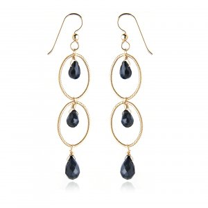 GOLDFILLED BLACK ONYX  LONG DROP  EARRINGS