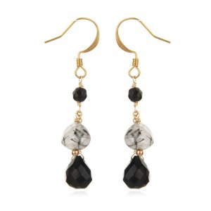 GOLDFILLED BLACK ONYX &TOURMULATED QUARTZ   EARRINGS