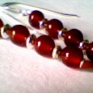 Genuine Carnelian & Sterling Silver Earrings