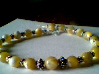 Genuine Golden Mother Of Pearl & Sterling Silver Bracelet
