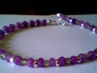 Genuine Lavender Jade, Peridot and Sterling Silver Bracelet