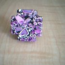 Purple Cross Adjustable Fashion Ring