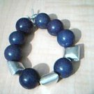 Purple Magnesite and Silver Bead Bracelet