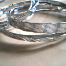Silver Bangle Bracelets Set of 6