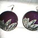 Purple with Golden Leaves Earrings