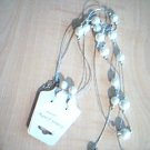 White Glass Pearls on Silver Metallic Cord Necklace