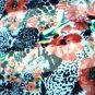 Red Flowers on Black Cheetah Print Scarf