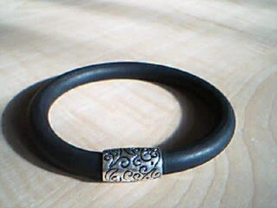 Black Bracelet with Engraved Silver Bead