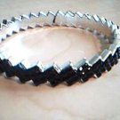 Black and Silver Zig Zag Bangle Bracelet