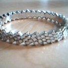 Clear and Silver Zig Zag Bangle Bracelet