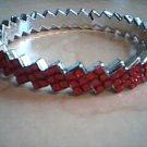 Red and Silver Zig Zag Bangle Bracelet