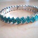 Aqua Blue and Silver Zig Zag Bangle Bracelet