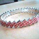 Pink and Silver Zig Zag Bangle Bracelet