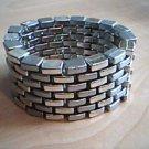 Two Tone Silver Brick Cuff Bracelet