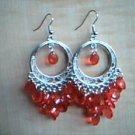 Orange and Silver Chandelier Earrings