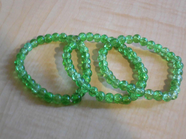 Light Green Cracked Glass Bracelets
