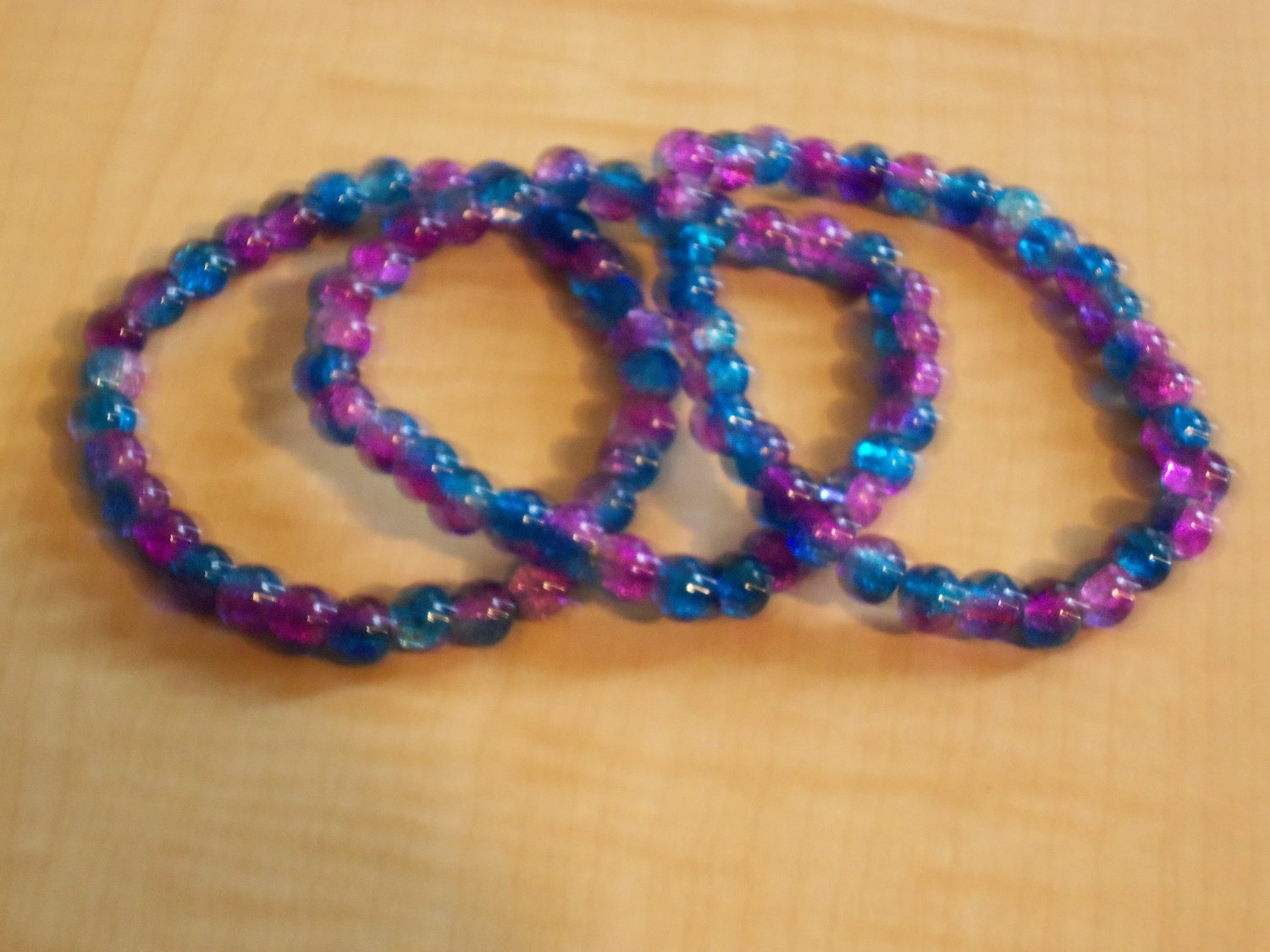 Purple and Blue Cracked Bead Bracelets