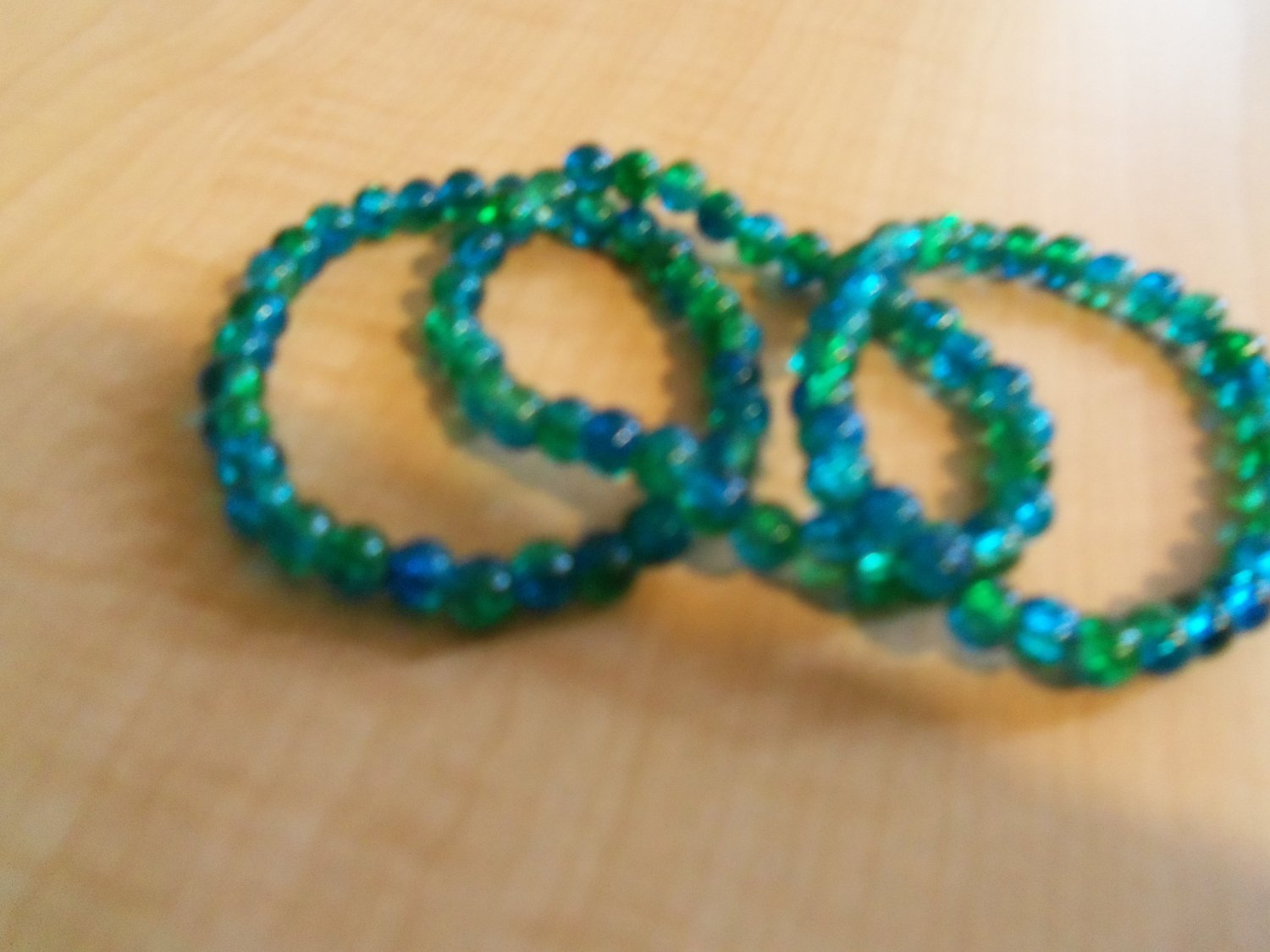 Blue and Green Cracked Glass Bead Bracelets