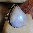 Natural Rainbow Moonstone Ring -Size 7
