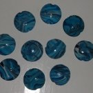 Blue and White Marbled Puffed Flat Coin - 10 Beads