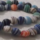 "Striped Puffed Coin Beads 10mm - 16"" Strand"