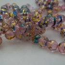 "Pink and Foil Swirled Beads 8mm  - 30"" Strand"