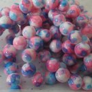 Pink and Blue Mottled Beads -8mm