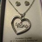 Nana Heart Necklace and Earrings