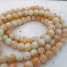 Orange and White 8mm Glass Beads - 1 Strand