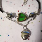 Green and Silver Heart Bracelet - 7 Inches
