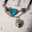 Blue and Silver Heart Bracelet - 7 Inches